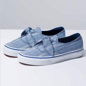 Chambray Denim Blue Tie Slip On Vans